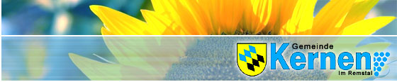 Sonnenblume mit integriertem Logo der Gemeinde Kernen im Remstal