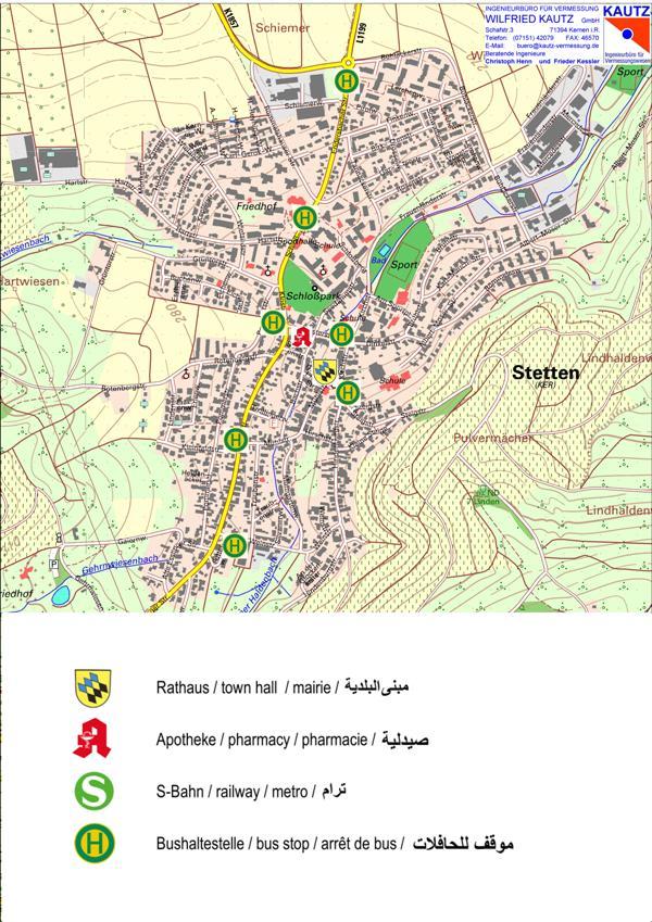 Karte Stetten fremdsprachig/ map Stetten in foreign languages