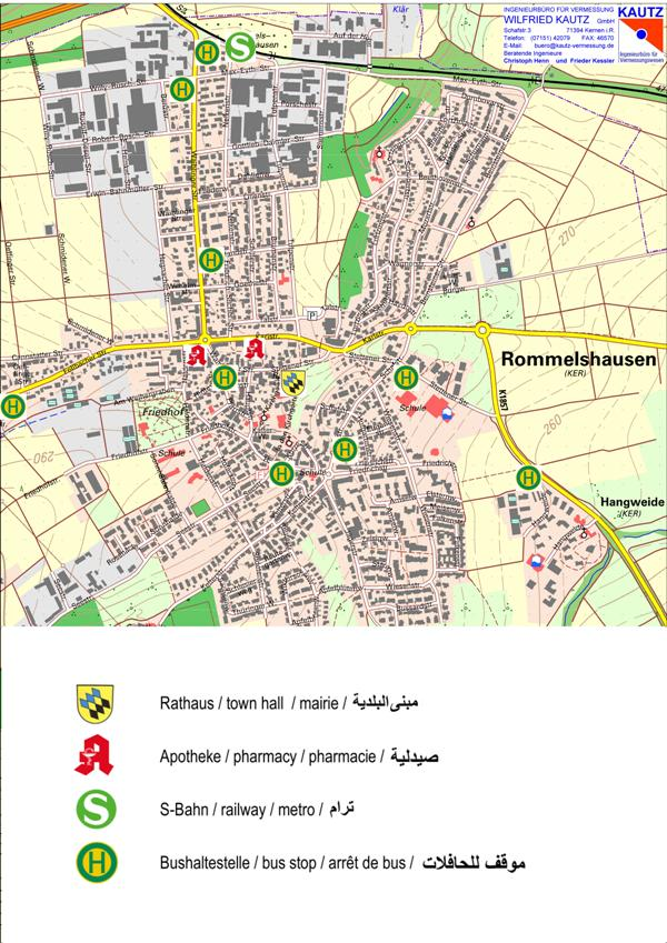 Karte Rommelshausen fremdsprachig/ map Rommelshausen in foreign languages