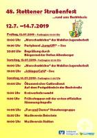 Bühnenprogramm Stettener Straßenfest 2019