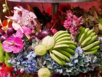 Farbspekakel ain Grün, Blau und Lila us Obst und Blüten