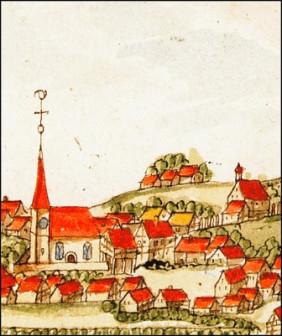 Historische Ortsansicht von Rommelshausen. Quelle: Hauptstaatsarchiv Stuttgart