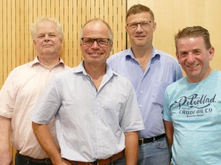 Die ausgeschiedenen Räte Christof Leibbrand, Walter Zimmer, Christoph Schönleber und Rainer Müller (v. l.)
